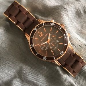 NEW MICHAEL KORS Rose Gold & Brown Silicone Watch